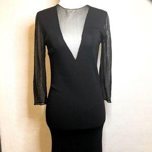 Zara Knit Black Midi Dress with Sheer Detail